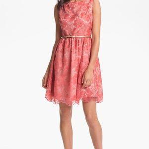 Eliza J Embroidered Fit Flare Dress ORANGE Sz 4